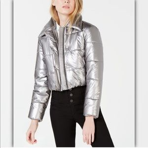 Bar III Cropped Metallic Puffer Jacket